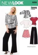 6816 New Look Pattern: Misses' Easy Two-Hour Skirt, Trousers and Knit Tops